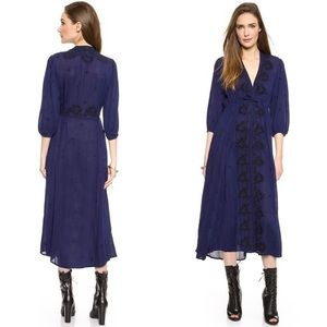 Free People Fable Embroidered Midi Dress Deep Navy